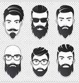 set bearded hipster men faces vector image vector image