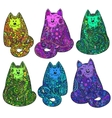 set six hand drawn doodle colorful cats vector image vector image