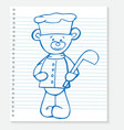 Sketch bear cook on a notebook vector image vector image