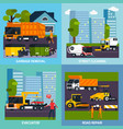 special transport 2x2 flat design concept vector image vector image