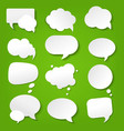 speech bubble collection green background vector image vector image