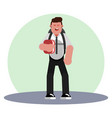 student with backpack vector image vector image