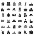 town building icons set simple style vector image vector image
