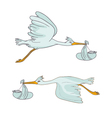 two stork flying with children vector image vector image