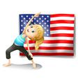 usa flag with a girl exercising