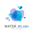 water splash logo design brand identity template vector image vector image