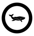 whale black icon in circle vector image vector image