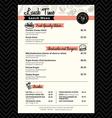 Restaurant Lunch menu design Template layout vector image
