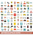 100 megalopolis icons set flat style vector image vector image