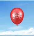 3d realistic glossy red balloon with ribbon
