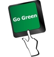 A keyboard with a key reading Go Green vector image vector image