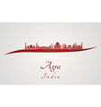 Agra skyline in red vector image vector image