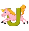 Alphabet U with unicorn cartoon vector image