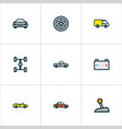 auto icons colored line set with cabriolet vector image vector image