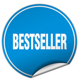 bestseller round blue sticker isolated on white vector image vector image