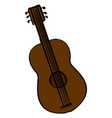 brown guitar on white background vector image vector image