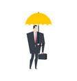businessman under umbrella boss insurance office vector image