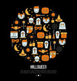 cartoon halloween concept in circle vector image vector image