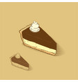 cheese cake with chocolate and cream on the top vector image vector image
