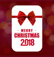 chrismtas card with red bow and typography vector image