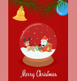 christmas santa claus snow globe greeting card vector image vector image