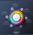 circular diagram divided into 6 multicolored vector image