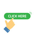 click here button with clicking hand pointer vector image