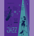 colorful jazz poster with singer and saxophone vector image