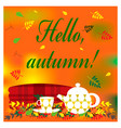cozy autumn with plaid kettle and vector image vector image
