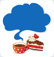cup and cake with cloud vector image