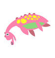 cute funny pink dinosaur lying prehistoric animal vector image vector image