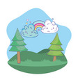 cute landscape cartoon vector image vector image