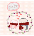 cute owl couple in rose floral frame vector image