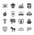 cyber crime and attack icons set vector image vector image