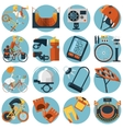 Cycling flat round icons set vector image vector image