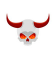 demon skull with horns eyes of flame satan vector image vector image