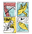 fishing poster set vector image