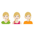 foreground cute woman with different expressions vector image vector image