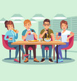 friends cafe friendly people eat drink lunch vector image