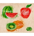Fruit watercolor watermelon kiwi apple red in vector image vector image