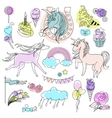 Green violet and pink unicorns with sweets on a vector image vector image