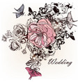greeting card with hand drawn roses vector image vector image
