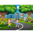 happy children playing on city park roads vector image vector image
