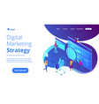 isometric digital marketing strategy landing page vector image