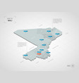 isometric mali map with city names and vector image vector image