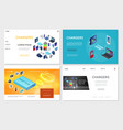 isometric modern chargers websites set vector image