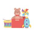 kids toys teddy bear rocket pinwheel drum object vector image vector image