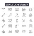 landscape design line icons signs set vector image vector image