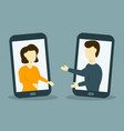 man and woman make a video call vector image vector image