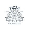 pizza badge design line art vector image